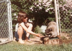 Sarah Gilbert and raccoon