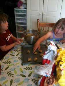 kids baking chocolate chip cookies