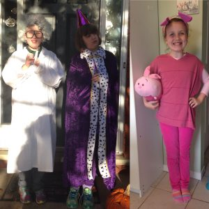 Mad Scientist, a princess, and Piglet Halloween costumes.