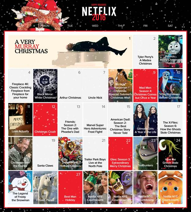 We're counting down to Christmas with every kind of Advent calendar we can find. Netflix does it in terms we can understand!