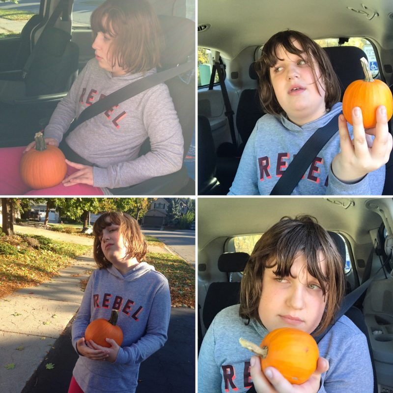 Maddy remembers everything! She chose the same sweatshirt to wear on the day she got a pumpkin, one day apart from the year before. We live in the upside down now.