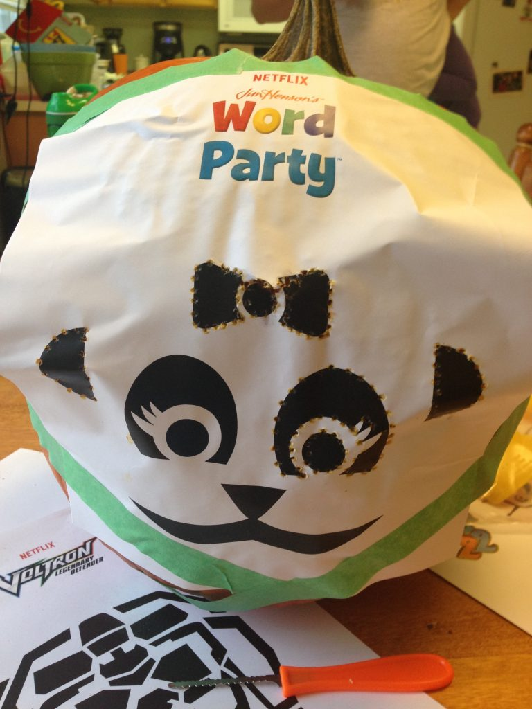 Maggie wanted her pumpkin to look like Lulu from Word Party on Netflix.